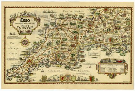 1932 Map PICTORIAL PLAN West Country CORNWALL Devon SOMERSET Dorset WILTS England